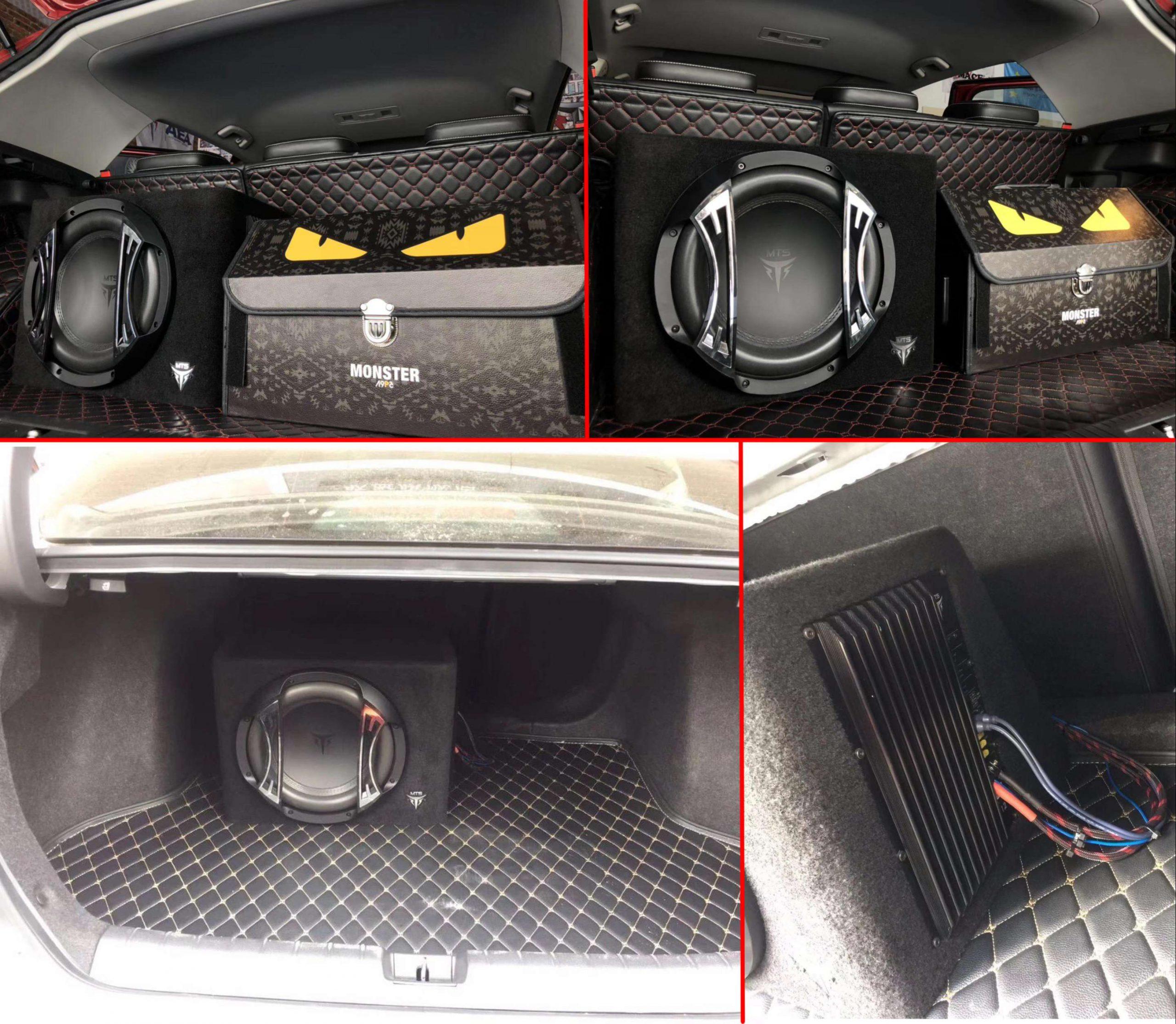 Loa Sub hơi được lắp vào cốp xe hơi