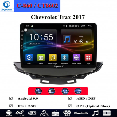 man hinh android cogamichi c 860 theo xe chevrolet trax 2017
